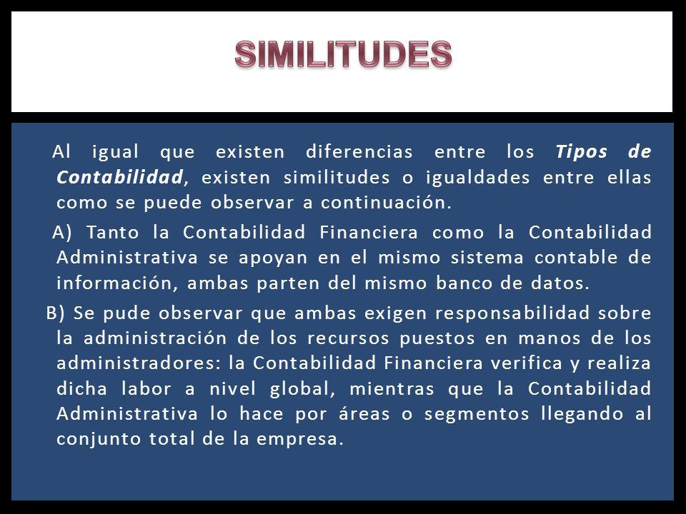 Al igual que existen diferencias entre los Tipos de Contabilidad, existen similitudes o igualdades entre ellas como se puede observar a continuación.