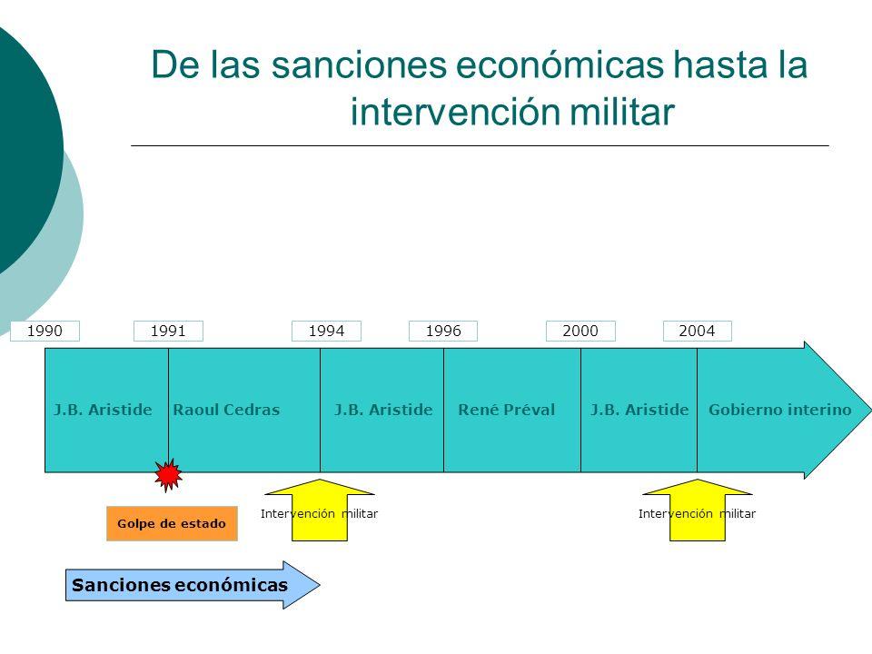 Entre marzo 1994 y febrero 2001, seis misiones de la ONU y de la OEA no impiden la inestabilidad crónica del país Falta de coordinación y de coherencia de las acciones de la OEA, de la ONU y de los donantes El interés fluctuante de Washington condiciona el de la ONU cuyo compromiso en el país baja al final de los anos noventa 1990-2004: las misiones de la OEA y de la ONU se suceden sin frenar la implementación de la política antidemocrática de Jean Bertrand Aristide
