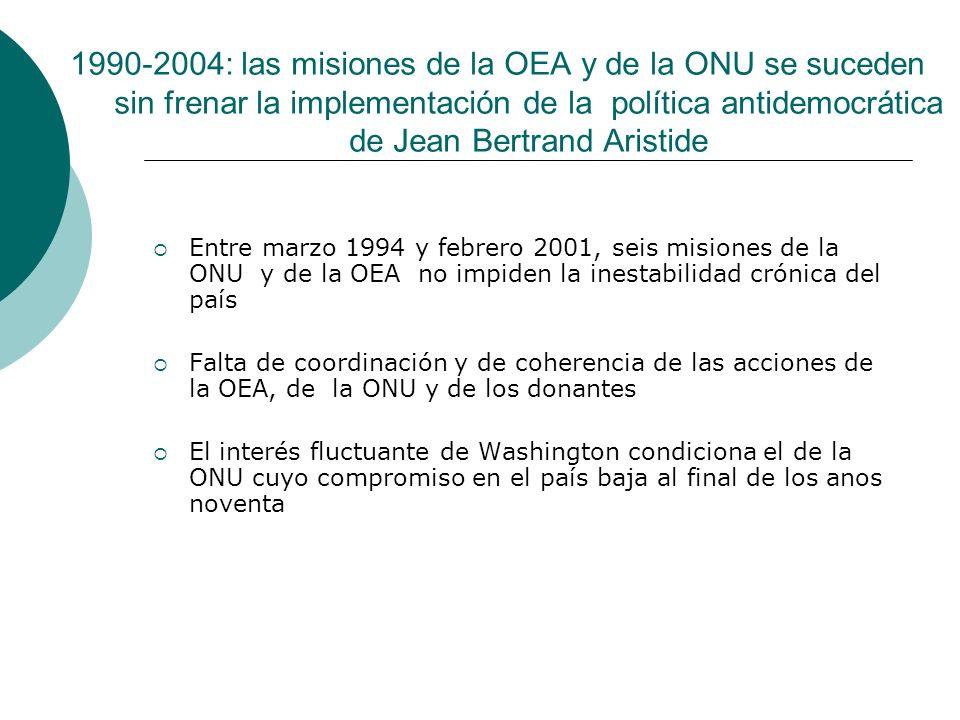 Entre marzo 1994 y febrero 2001, seis misiones de la ONU y de la OEA no impiden la inestabilidad crónica del país Falta de coordinación y de coherenci