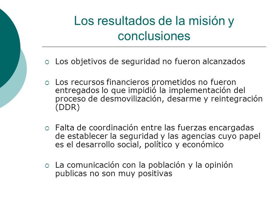 Los resultados de la misión y conclusiones Los objetivos de seguridad no fueron alcanzados Los recursos financieros prometidos no fueron entregados lo