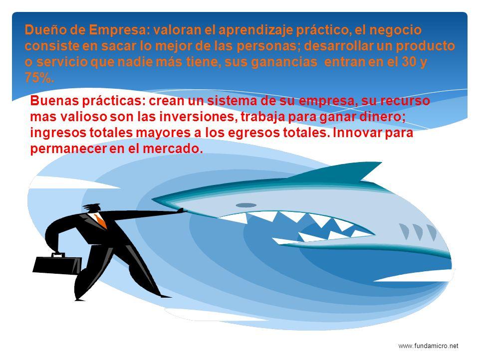 www.fundamicro.net Dueño de Empresa: valoran el aprendizaje práctico, el negocio consiste en sacar lo mejor de las personas; desarrollar un producto o