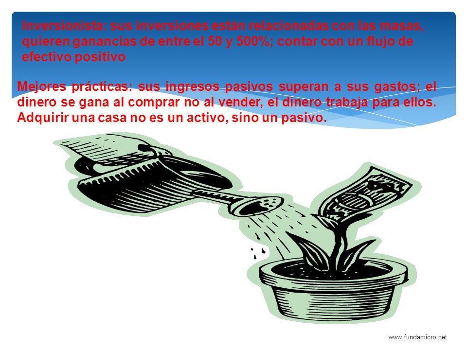 www.fundamicro.net Inversionista: sus inversiones están relacionadas con las masas, quieren ganancias de entre el 50 y 500%; contar con un flujo de ef