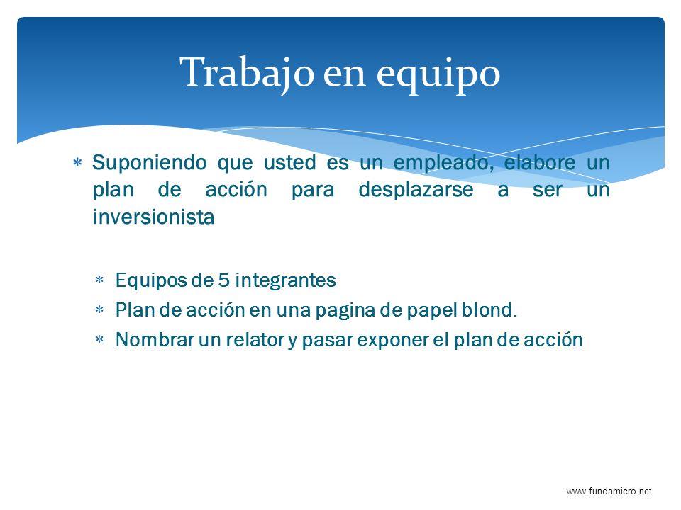 www.fundamicro.net Suponiendo que usted es un empleado, elabore un plan de acción para desplazarse a ser un inversionista Equipos de 5 integrantes Pla