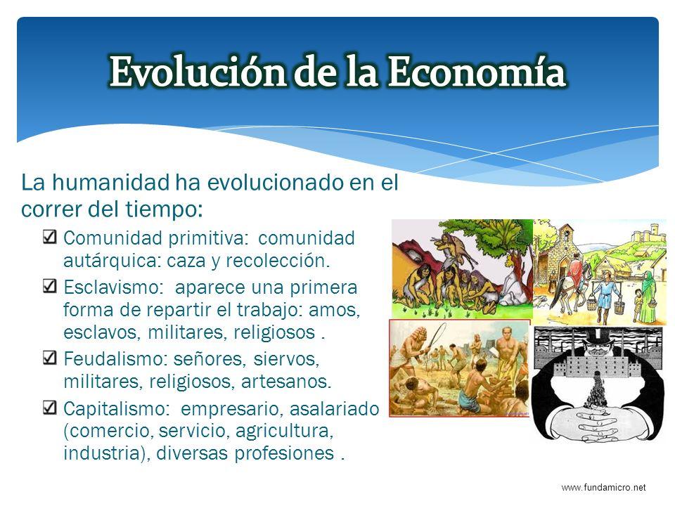 www.fundamicro.net La humanidad ha evolucionado en el correr del tiempo: Comunidad primitiva: comunidad autárquica: caza y recolección. Esclavismo: ap