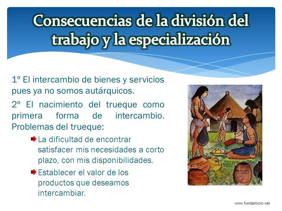 www.fundamicro.net 1º El intercambio de bienes y servicios pues ya no somos autárquicos. 2º El nacimiento del trueque como primera forma de intercambi