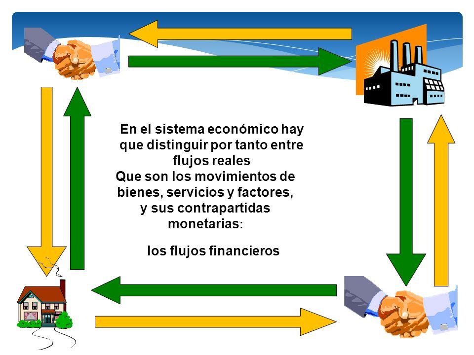 En el sistema económico hay que distinguir por tanto entre flujos reales Que son los movimientos de bienes, servicios y factores, y sus contrapartidas