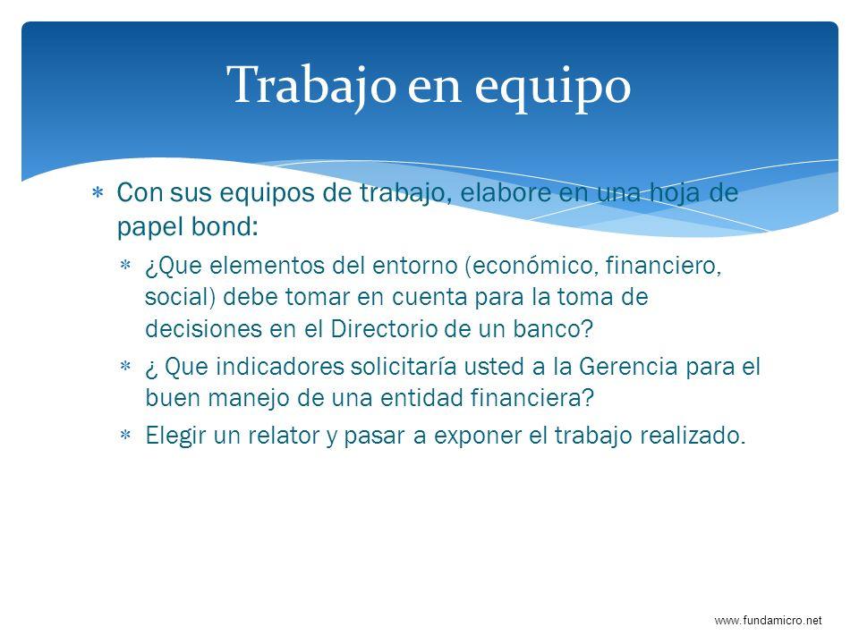 www.fundamicro.net Con sus equipos de trabajo, elabore en una hoja de papel bond: ¿Que elementos del entorno (económico, financiero, social) debe toma