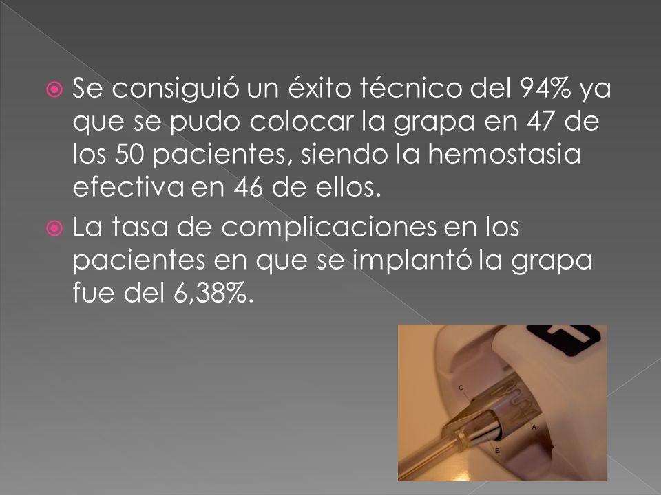 Se consiguió un éxito técnico del 94% ya que se pudo colocar la grapa en 47 de los 50 pacientes, siendo la hemostasia efectiva en 46 de ellos. La tasa