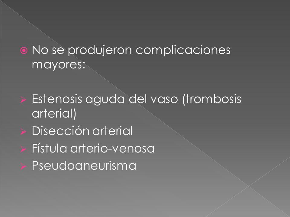 No se produjeron complicaciones mayores: Estenosis aguda del vaso (trombosis arterial) Disección arterial Fístula arterio-venosa Pseudoaneurisma