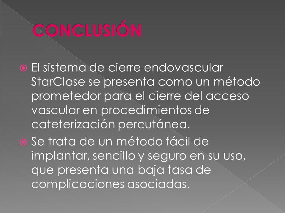 El sistema de cierre endovascular StarClose se presenta como un método prometedor para el cierre del acceso vascular en procedimientos de cateterizaci