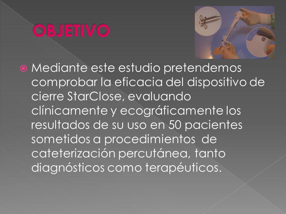 Mediante este estudio pretendemos comprobar la eficacia del dispositivo de cierre StarClose, evaluando clínicamente y ecográficamente los resultados d