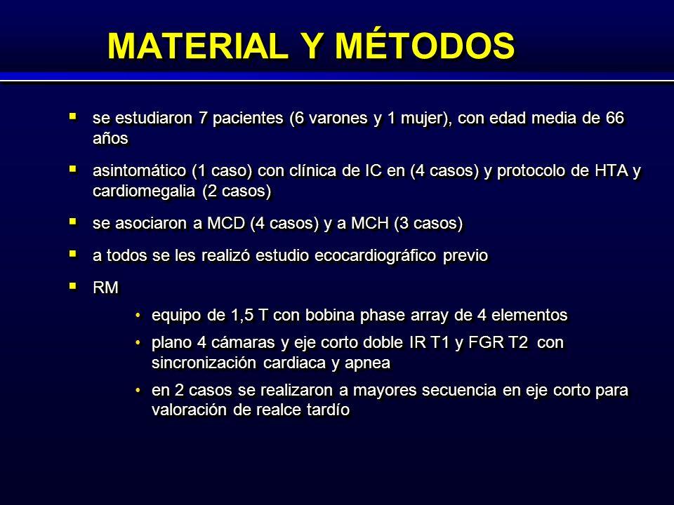 MATERIAL Y MÉTODOS se estudiaron 7 pacientes (6 varones y 1 mujer), con edad media de 66 años se estudiaron 7 pacientes (6 varones y 1 mujer), con edad media de 66 años asintomático (1 caso) con clínica de IC en (4 casos) y protocolo de HTA y cardiomegalia (2 casos) asintomático (1 caso) con clínica de IC en (4 casos) y protocolo de HTA y cardiomegalia (2 casos) se asociaron a MCD (4 casos) y a MCH (3 casos) se asociaron a MCD (4 casos) y a MCH (3 casos) a todos se les realizó estudio ecocardiográfico previo a todos se les realizó estudio ecocardiográfico previo RM RM equipo de 1,5 T con bobina phase array de 4 elementosequipo de 1,5 T con bobina phase array de 4 elementos plano 4 cámaras y eje corto doble IR T1 y FGR T2 con sincronización cardiaca y apneaplano 4 cámaras y eje corto doble IR T1 y FGR T2 con sincronización cardiaca y apnea en 2 casos se realizaron a mayores secuencia en eje corto para valoración de realce tardíoen 2 casos se realizaron a mayores secuencia en eje corto para valoración de realce tardío