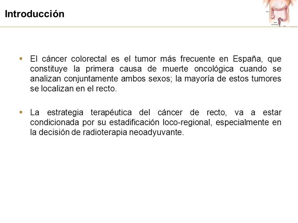 Introducción El cáncer colorectal es el tumor más frecuente en España, que constituye la primera causa de muerte oncológica cuando se analizan conjuntamente ambos sexos; la mayoría de estos tumores se localizan en el recto.