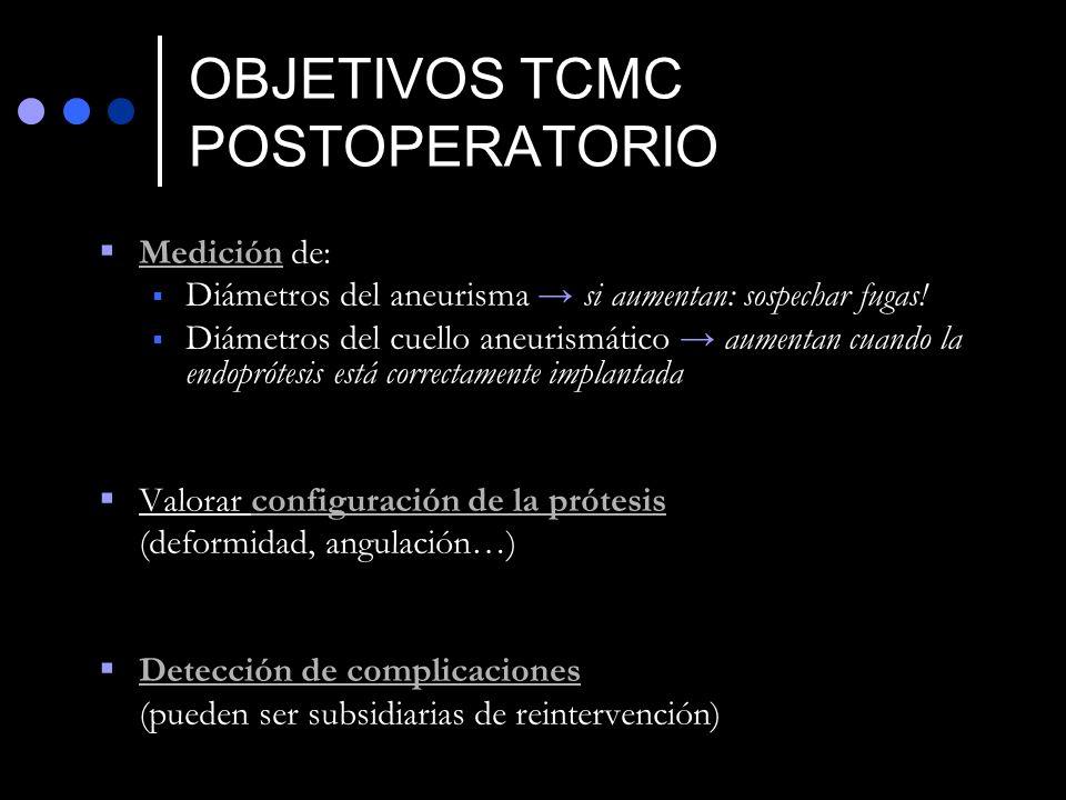 OBJETIVOS TCMC POSTOPERATORIO Medición de: Diámetros del aneurisma si aumentan: sospechar fugas! Diámetros del cuello aneurismático aumentan cuando la