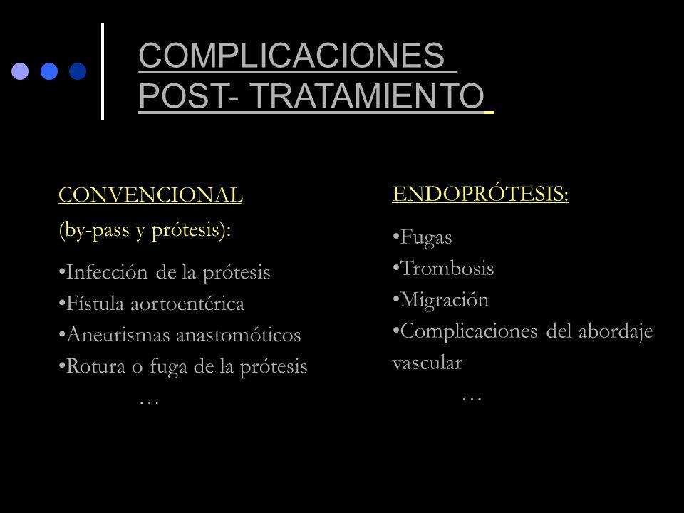 CONVENCIONAL (by-pass y prótesis): Infección de la prótesis Fístula aortoentérica Aneurismas anastomóticos Rotura o fuga de la prótesis … ENDOPRÓTESIS