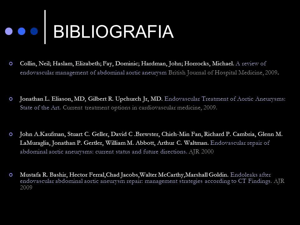 BIBLIOGRAFIA Collin, Neil; Haslam, Elizabeth; Fay, Dominic; Hardman, John; Horrocks, Michael. A review of endovascular management of abdominal aortic
