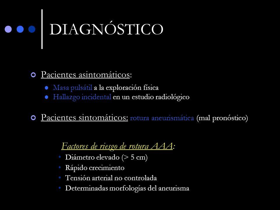 DIAGNÓSTICO Pacientes asintomáticos: Masa pulsátil a la exploración física Hallazgo incidental en un estudio radiológico Pacientes sintomáticos: rotur