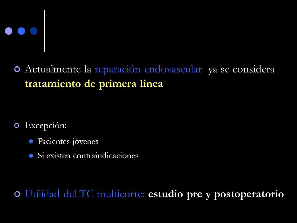 CONCLUSIONES (2) El TC multidetecctor desempeña un importante papel tanto en el estudio pre como postquirúrgico dada su capacidad para caracterizar el aneurisma y detectar las complicaciones a corto y largo plazo de ambas técnicas terapéuticas.