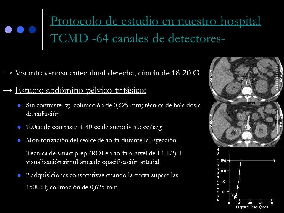 Protocolo de estudio en nuestro hospital TCMD -64 canales de detectores- Vía intravenosa antecubital derecha, cánula de 18-20 G Estudio abdómino-pélvi