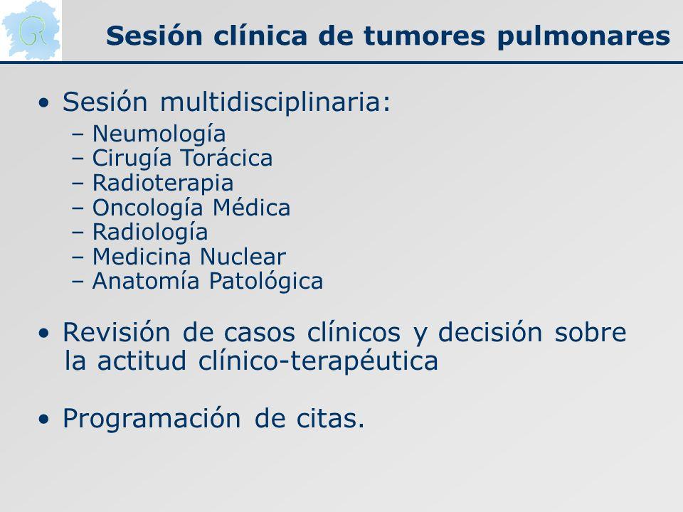 Sesión clínica de tumores pulmonares Sesión multidisciplinaria: –Neumología –Cirugía Torácica –Radioterapia –Oncología Médica –Radiología –Medicina Nu