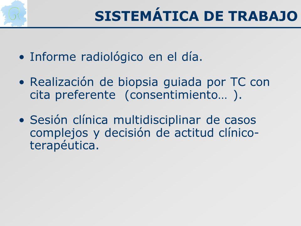 Informe radiológico en el día. Realización de biopsia guiada por TC con cita preferente (consentimiento… ). Sesión clínica multidisciplinar de casos c