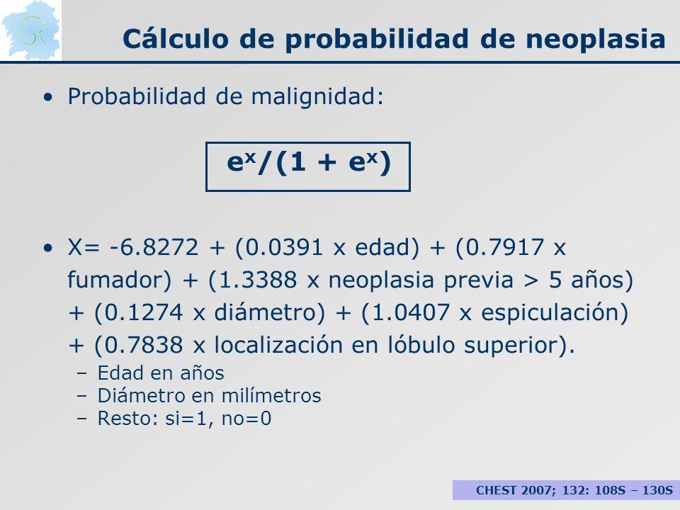 Cálculo de probabilidad de neoplasia Probabilidad de malignidad: e x /(1 + e x ) X= -6.8272 + (0.0391 x edad) + (0.7917 x fumador) + (1.3388 x neoplas