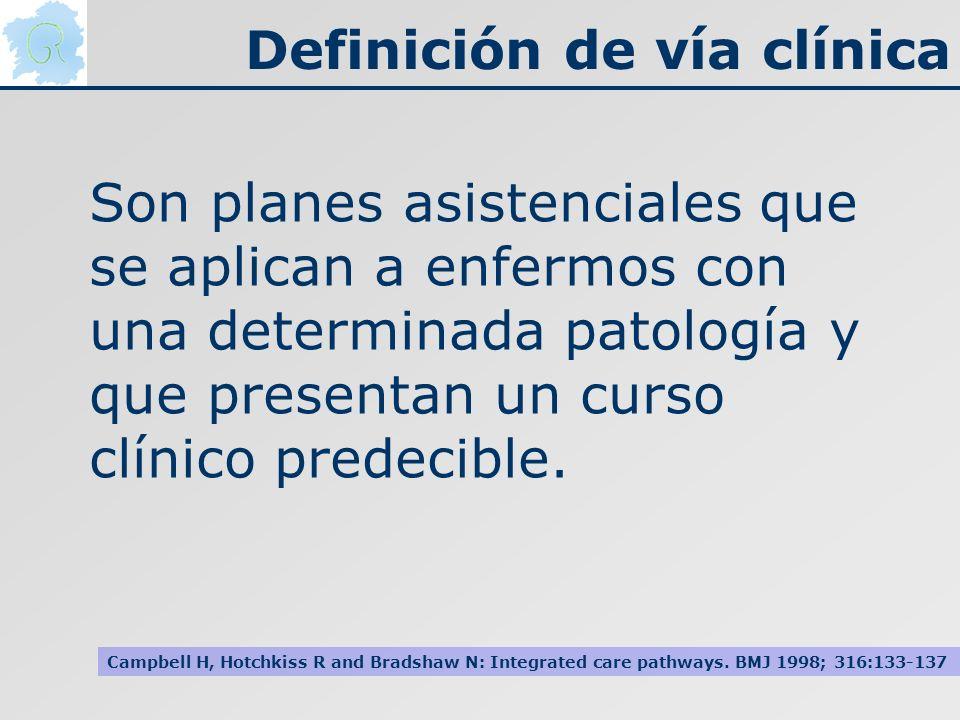 Definición de vía clínica Son planes asistenciales que se aplican a enfermos con una determinada patología y que presentan un curso clínico predecible