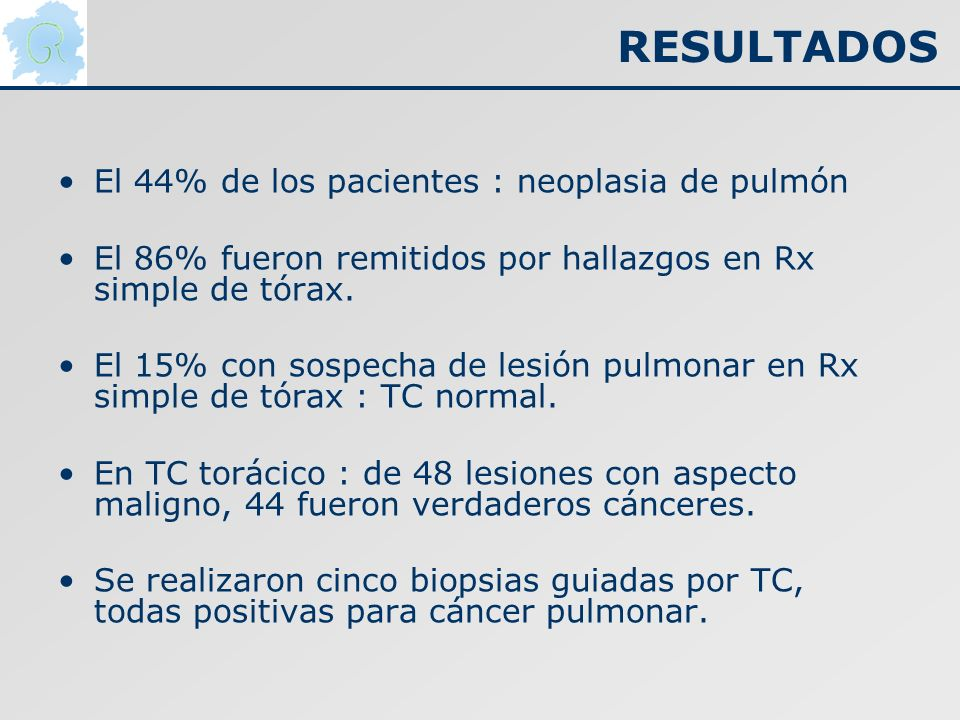 RESULTADOS El 44% de los pacientes : neoplasia de pulmón El 86% fueron remitidos por hallazgos en Rx simple de tórax. El 15% con sospecha de lesión pu