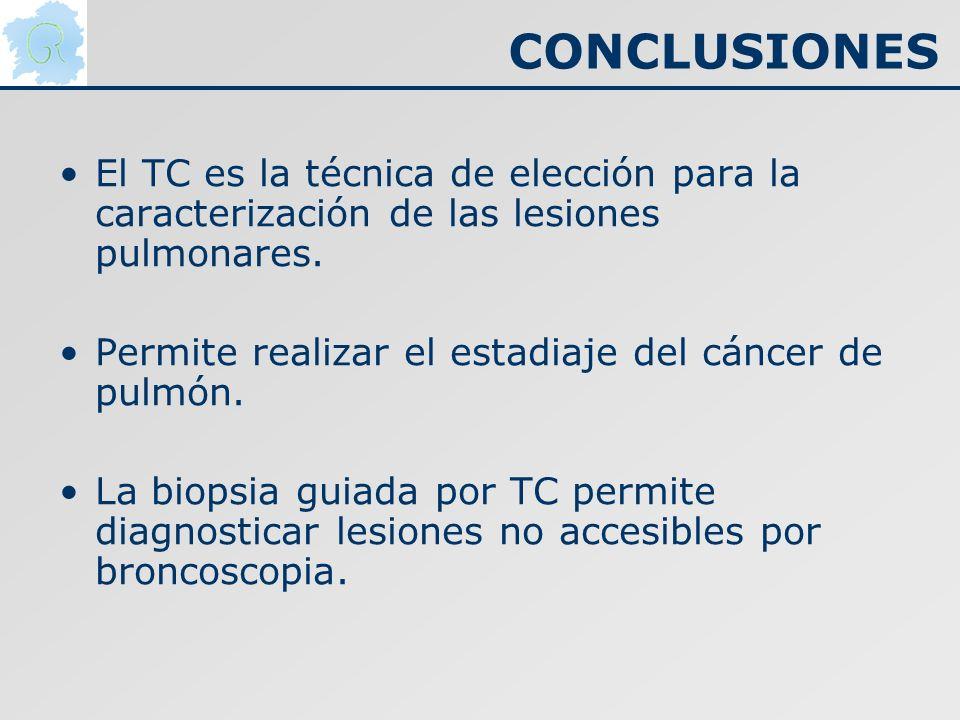 CONCLUSIONES El TC es la técnica de elección para la caracterización de las lesiones pulmonares. Permite realizar el estadiaje del cáncer de pulmón. L