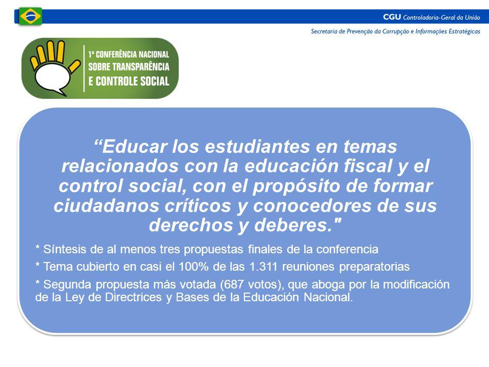 Educar los estudiantes en temas relacionados con la educación fiscal y el control social, con el propósito de formar ciudadanos críticos y conocedores