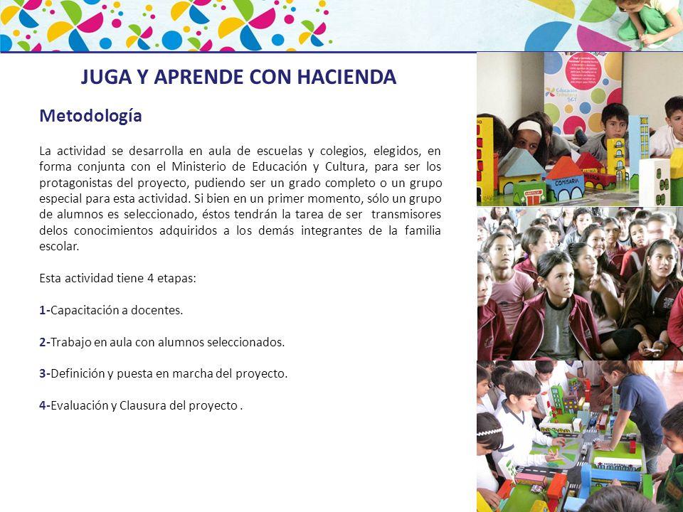 Metodología La actividad se desarrolla en aula de escuelas y colegios, elegidos, en forma conjunta con el Ministerio de Educación y Cultura, para ser