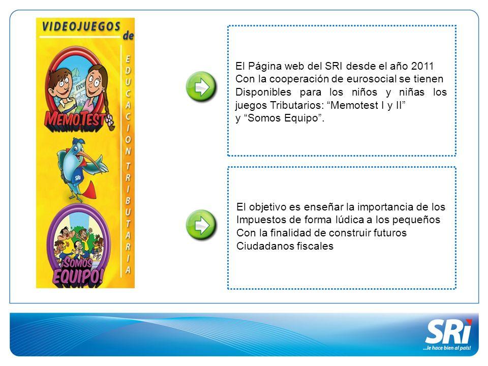 El Página web del SRI desde el año 2011 Con la cooperación de eurosocial se tienen Disponibles para los niños y niñas los juegos Tributarios: Memotest