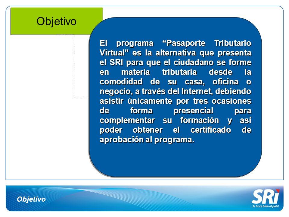 Objetivo El programa Pasaporte Tributario Virtual es la alternativa que presenta el SRI para que el ciudadano se forme en materia tributaria desde la