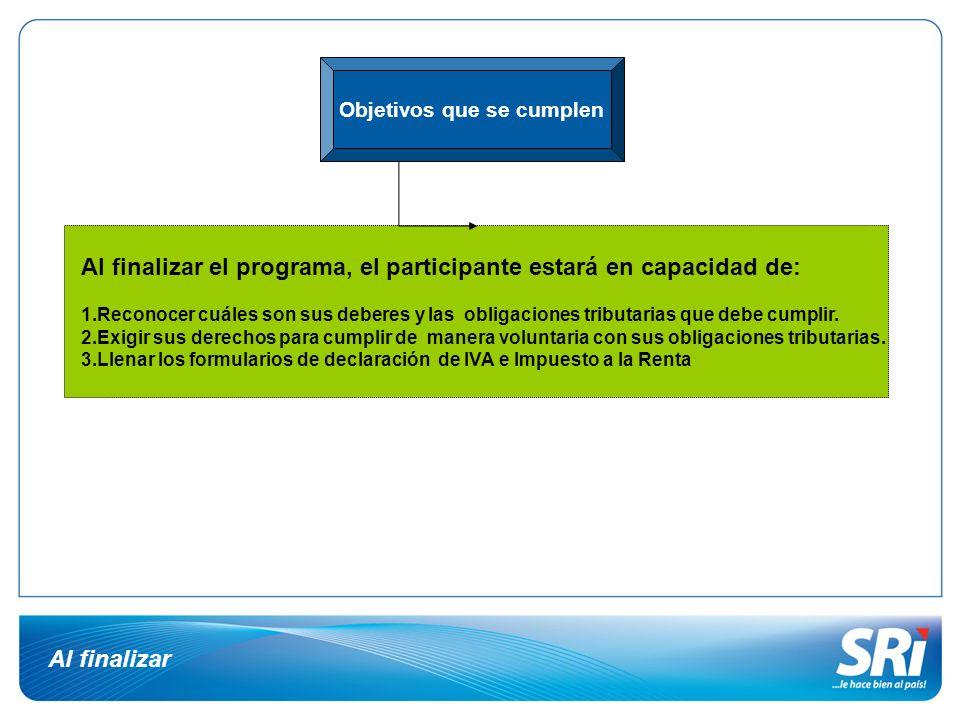 Al finalizar Objetivos que se cumplen Al finalizar el programa, el participante estará en capacidad de: 1.Reconocer cuáles son sus deberes y las oblig