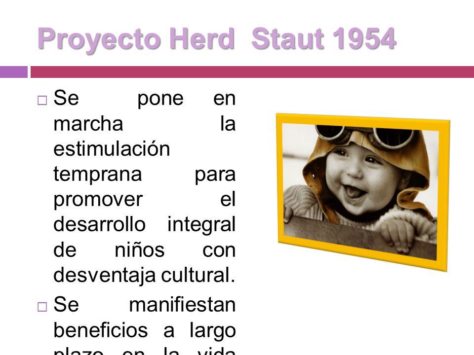 Programas de intervención para niños afectados biológicamente (años 50s) Se daba énfasis en los niños y niñas con PCI Se hacía hincapié en aspectos fi