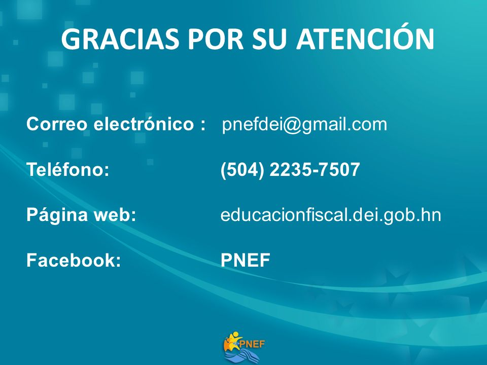 Correo electrónico : pnefdei@gmail.com Teléfono: (504) 2235-7507 Página web: educacionfiscal.dei.gob.hn Facebook: PNEF GRACIAS POR SU ATENCIÓN