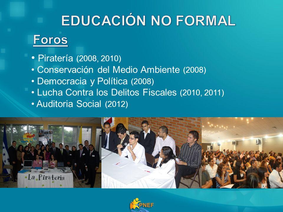 Piratería (2008, 2010) Conservación del Medio Ambiente (2008) Democracia y Política (2008) Lucha Contra los Delitos Fiscales (2010, 2011) Auditoria So