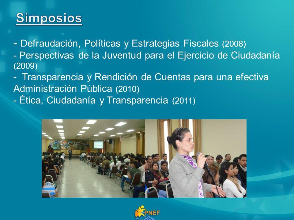 - Defraudación, Políticas y Estrategias Fiscales (2008) - Perspectivas de la Juventud para el Ejercicio de Ciudadanía (2009) - Transparencia y Rendici