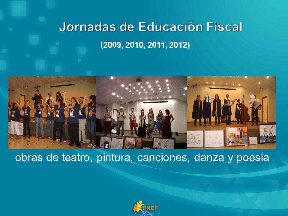 obras de teatro, pintura, canciones, danza y poesía (2009, 2010, 2011, 2012)