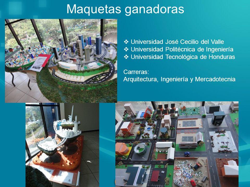 Maquetas ganadoras Universidad José Cecilio del Valle Universidad Politécnica de Ingeniería Universidad Tecnológica de Honduras Carreras: Arquitectura