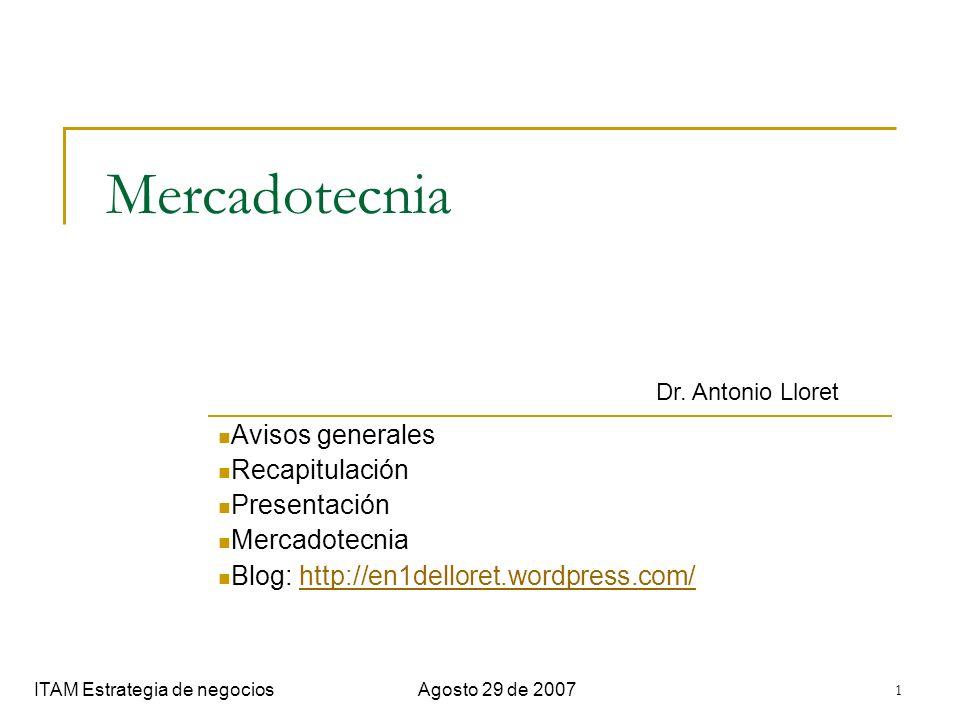 1 Mercadotecnia Avisos generales Recapitulación Presentación Mercadotecnia Blog: http://en1delloret.wordpress.com/http://en1delloret.wordpress.com/ IT
