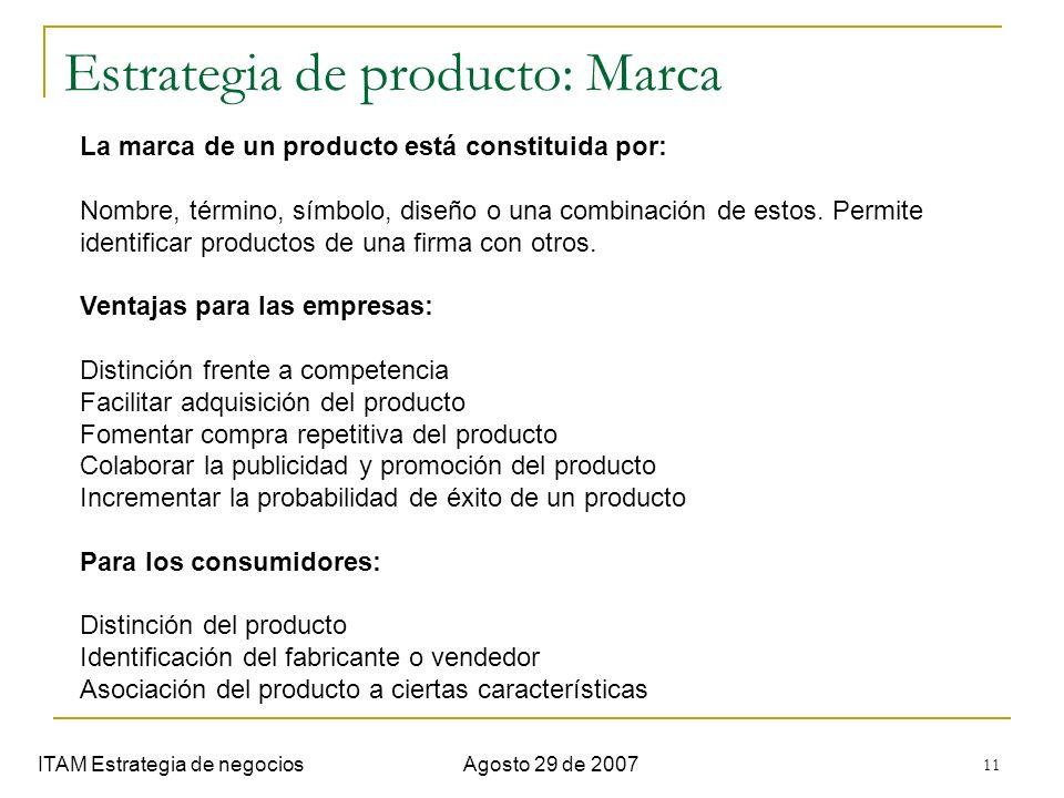 11 Estrategia de producto: Marca ITAM Estrategia de negociosAgosto 29 de 2007 La marca de un producto está constituida por: Nombre, término, símbolo,