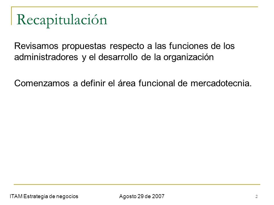 2 Recapitulación ITAM Estrategia de negociosAgosto 29 de 2007 Revisamos propuestas respecto a las funciones de los administradores y el desarrollo de