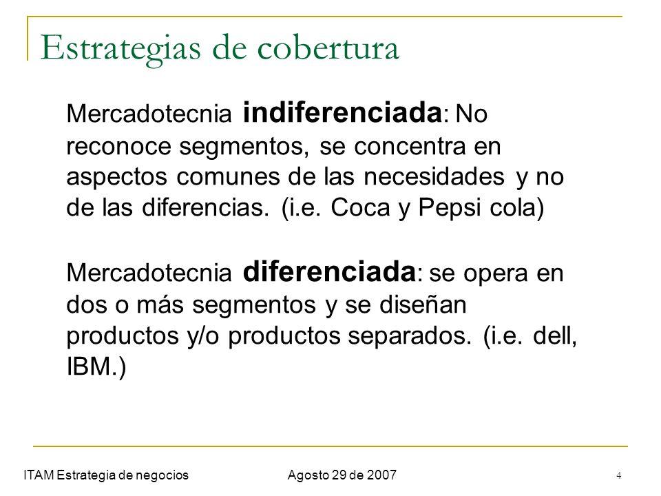 4 Estrategias de cobertura ITAM Estrategia de negociosAgosto 29 de 2007 Mercadotecnia indiferenciada : No reconoce segmentos, se concentra en aspectos