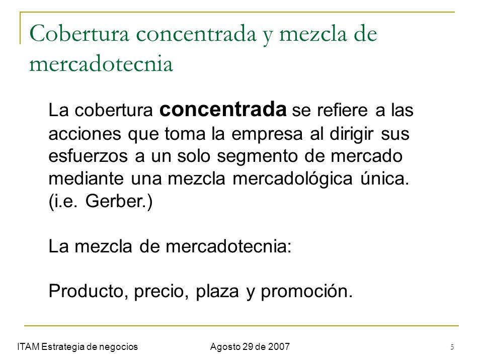 5 Cobertura concentrada y mezcla de mercadotecnia ITAM Estrategia de negociosAgosto 29 de 2007 La cobertura concentrada se refiere a las acciones que