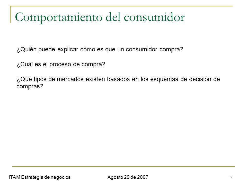 7 Comportamiento del consumidor ITAM Estrategia de negociosAgosto 29 de 2007 ¿Quién puede explicar cómo es que un consumidor compra? ¿Cuál es el proce