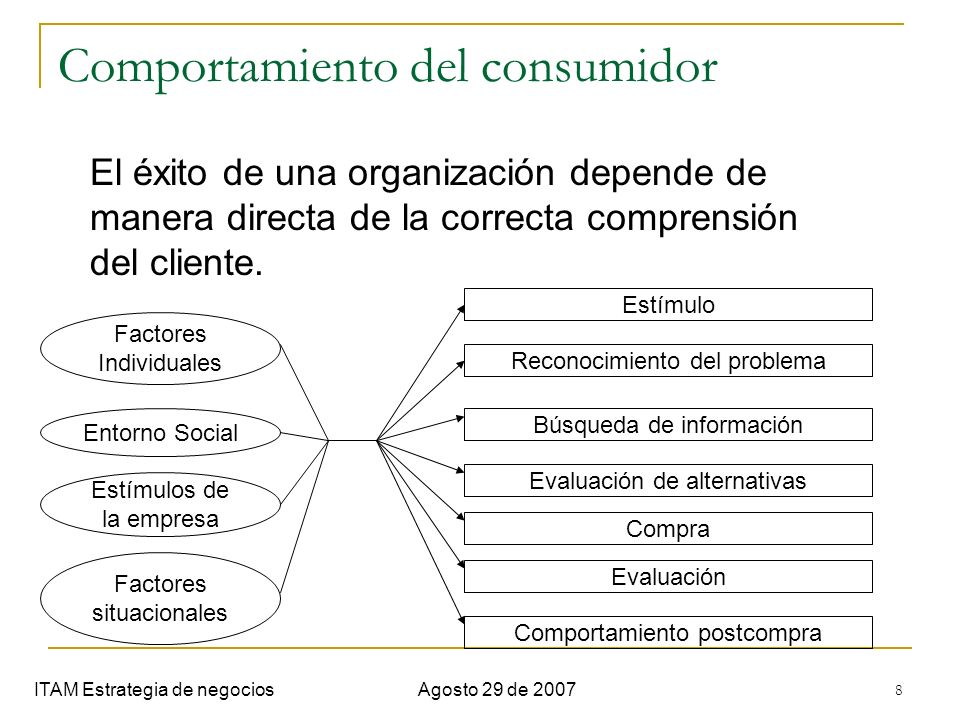 8 Comportamiento del consumidor ITAM Estrategia de negociosAgosto 29 de 2007 El éxito de una organización depende de manera directa de la correcta com