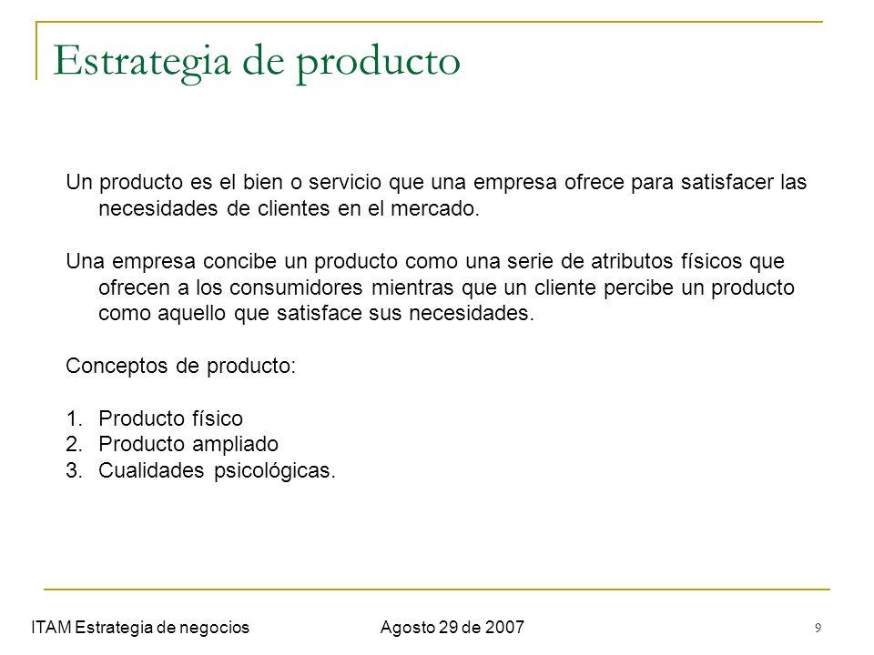 10 Estrategia de producto ITAM Estrategia de negociosAgosto 29 de 2007 (Kotler, 1993) Los atributos de un producto que permite diferenciarse de la competencia son: 1.Características : elementos que complementan funcionamiento básico del producto.