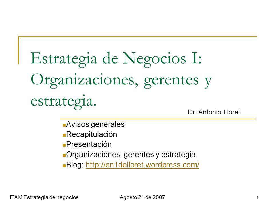 12 Funciones del gerente ITAM Estrategia de negociosAgosto 21 de 2007 Roles gerenciales (Mintzberg, 1994): Respecto al marco de trabajo Respecto a la administración de la información Respecto al personal Respecto a la acción