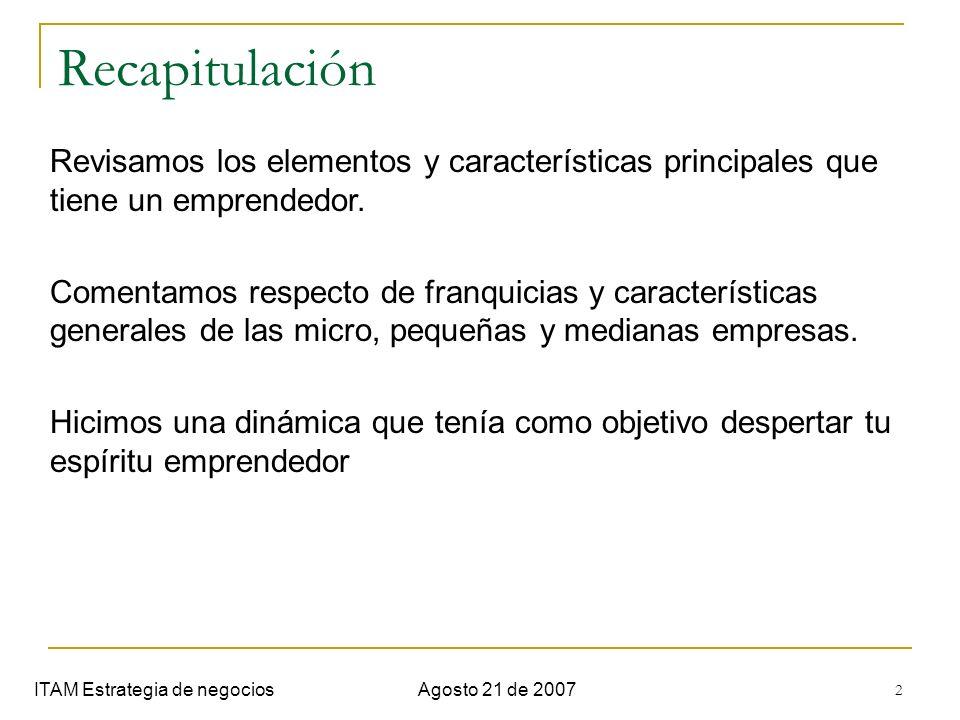 2 Recapitulación ITAM Estrategia de negociosAgosto 21 de 2007 Revisamos los elementos y características principales que tiene un emprendedor. Comentam